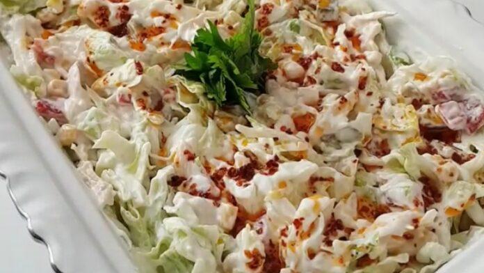Tavuklu yoğurtlu salata | gaziantepetyemekleri.com